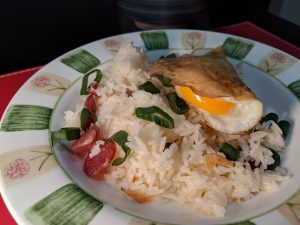 Rice, lapchong and egg